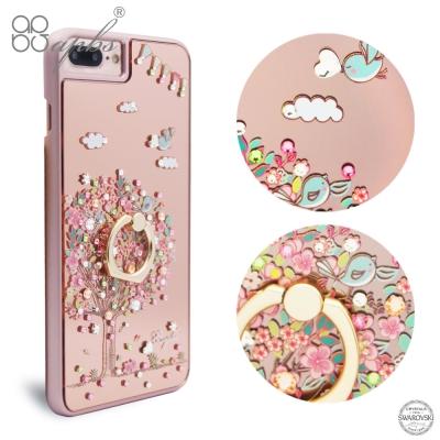 apbs iPhone8/7/6s/6 Plus 5.5吋施華彩鑽鏡面指環扣手機殼-相愛