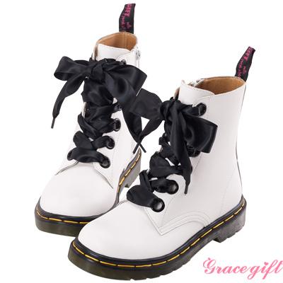 Grace gift-全真皮緞帶馬汀短靴 白