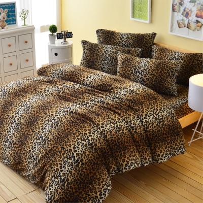 LaVenta-[時尚花豹] 加大雙人刷毛搖粒絨被套床包四件組