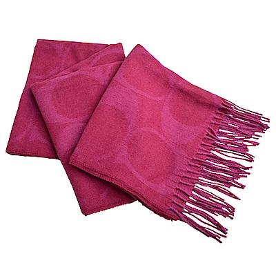 COACH 大C LOGO羊毛羊絨流蘇披肩式圍巾-紫紅