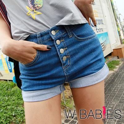 正韓-排釦反褶洗色牛仔短褲-共二色-W-BABIES