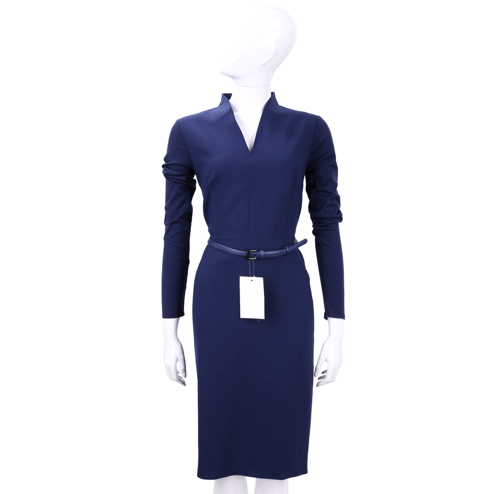 Max Mara 藍色V領羊毛長袖洋裝(附腰帶)
