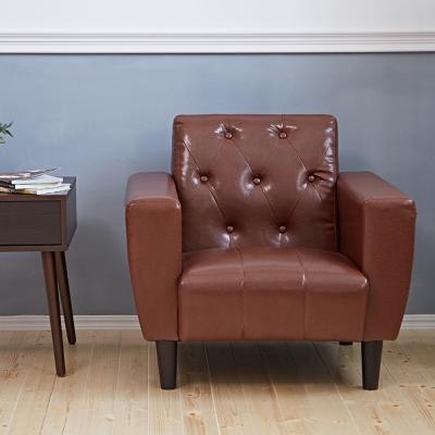 Bed Maker-拉釦古早味‧復古經典 1P單人 皮革沙發/復刻沙發
