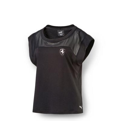 PUMA-女性 法拉利經典系列網布拼接短袖T恤-暗月黑
