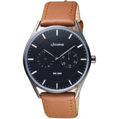 LICORNE 文青時尚日曆手錶-黑x咖啡錶帶/40mm