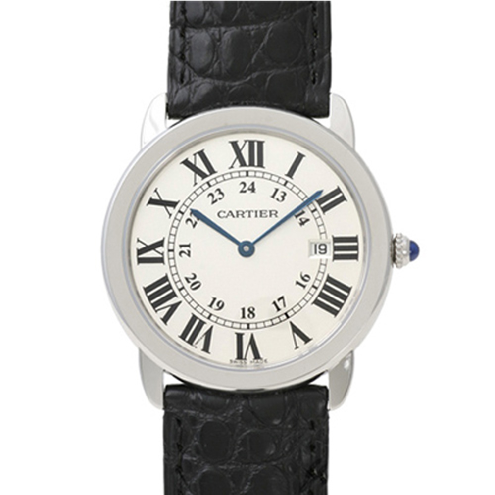 CARTIER RONDE SOLO 經典中型皮帶腕錶-米白/36mm
