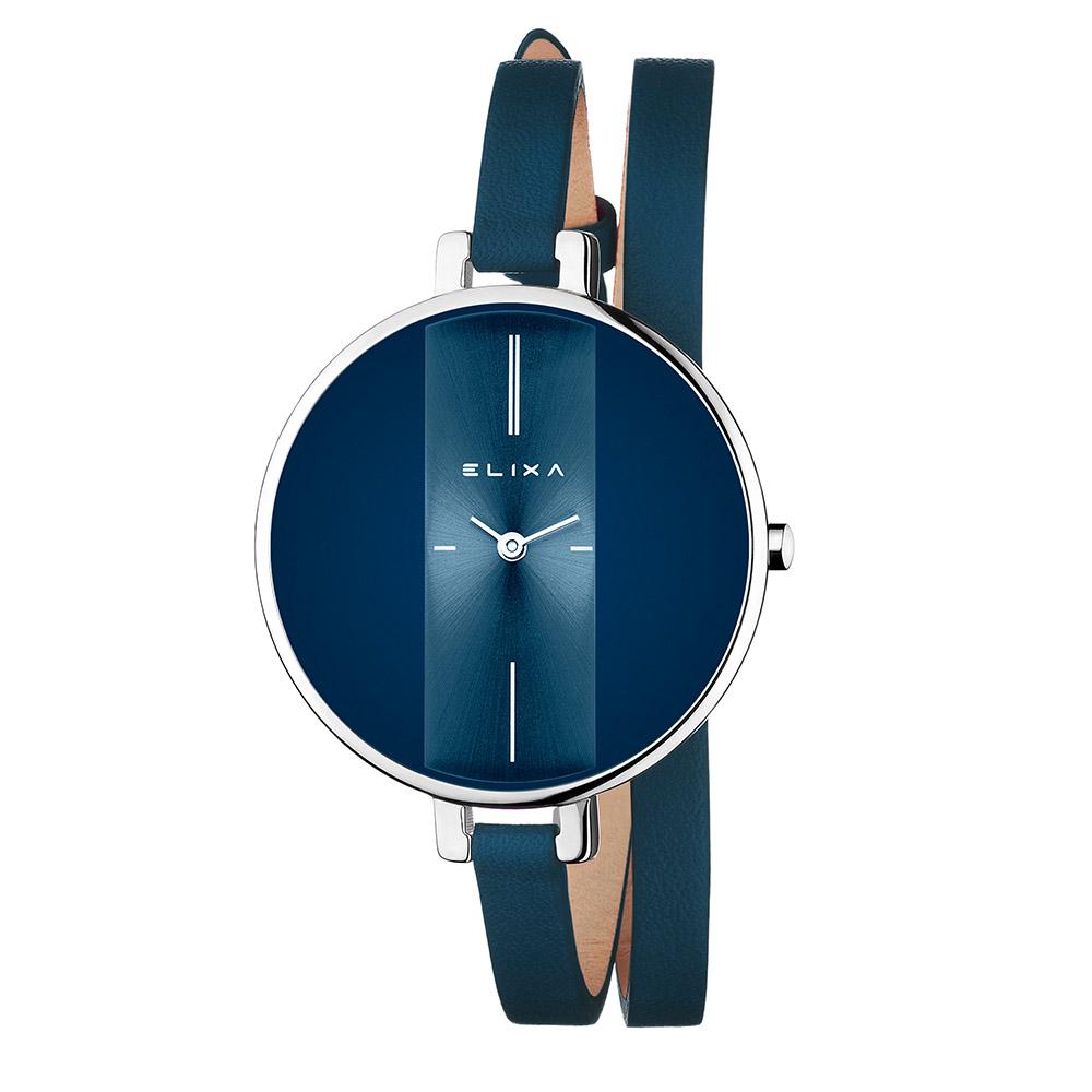 ELIXA Finesse系列銀框  星辰藍錶盤/星辰藍皮革纏繞式錶帶38mm @ Y!購物