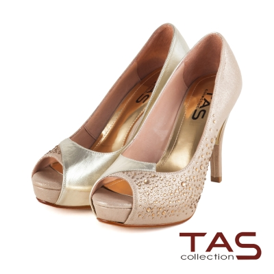 TAS-異材質華麗水鑽交叉拼接魚口高跟鞋-璀璨金