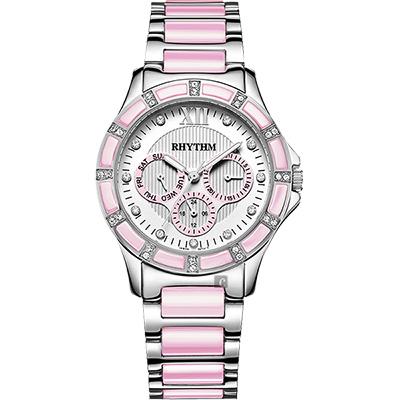 RHYTHM日本麗聲 陶瓷晶鑽三眼女錶-銀x粉紅/38mm F1201T03