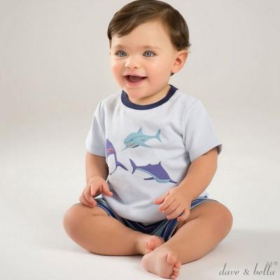Dave Bella 藍色鯊魚條紋褲短袖上衣短褲套裝2件組
