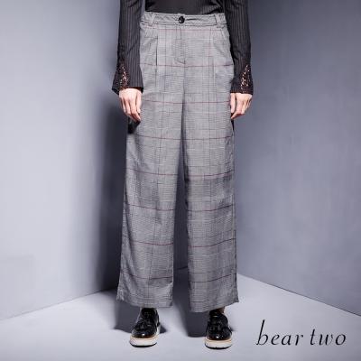 beartwo-威爾斯王子格立體剪裁修身寬口褲-灰