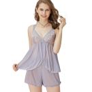 思薇爾 啵時尚花心思系列蕾絲性感衣褲二件式小夜衣(紫藤灰)