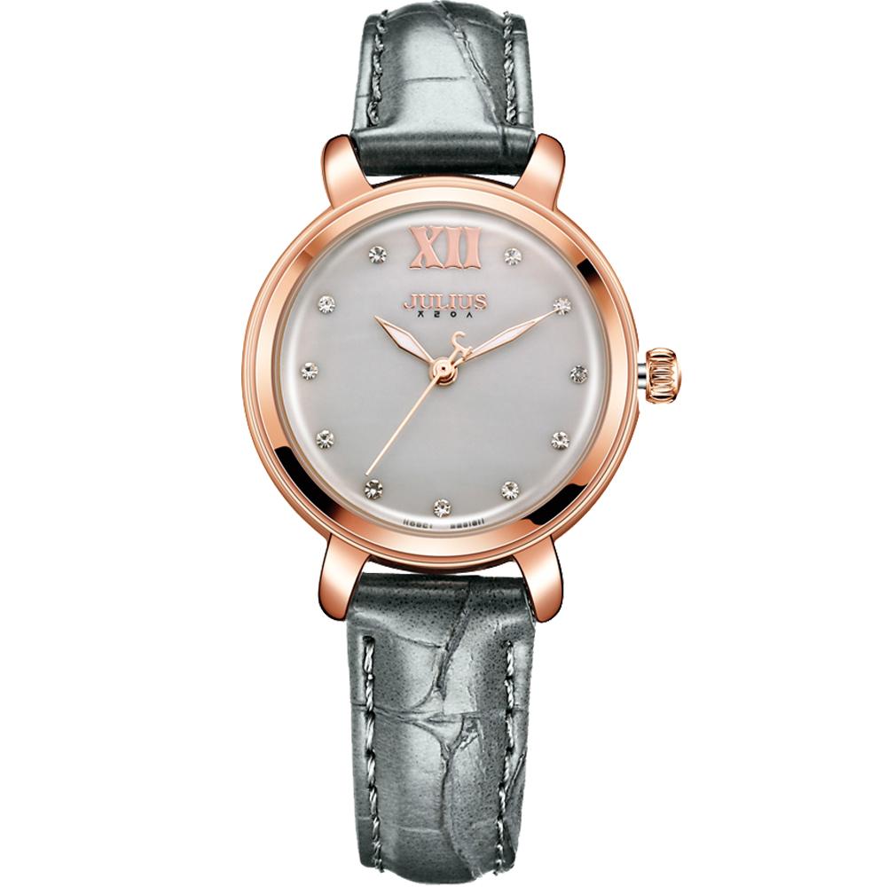 JULIUS聚利時 微醺夢境點鑽皮革錶帶腕錶-大象灰/30mm