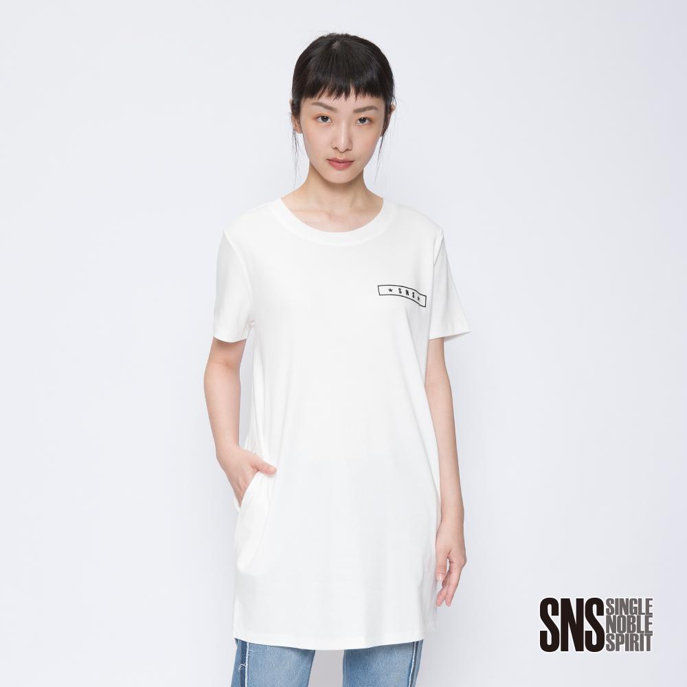 SNS 簡約品牌圖騰設計口袋長版上衣(3色)