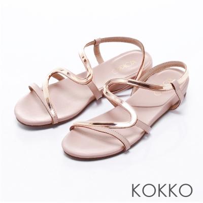 KOKKO經典手工 -優雅金屬S型曲線楔型涼鞋-  粉
