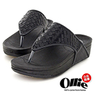 Ollie韓國空運-正韓製編織皮革Q軟厚底夾腳拖鞋-黑