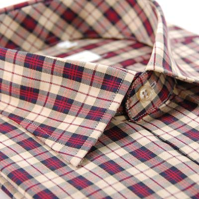 【金安德森】紅色經典中格紋短袖襯衫