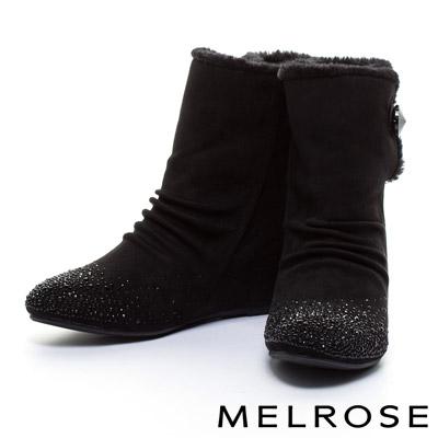 短靴-MELROSE-毛毛氛圍晶鑽內增高高筒短靴-黑