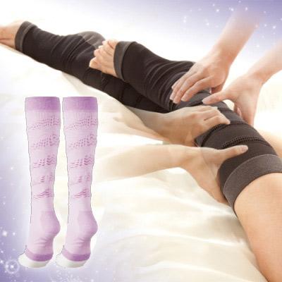 【Sunlead】五階段加壓。睡美人夜寢美腿緊實機能襪/襪套 (粉紫色)