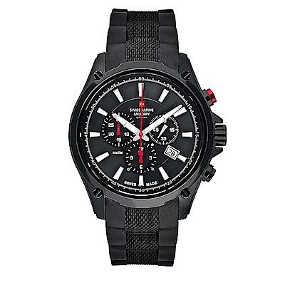 阿爾卑斯軍錶S.A.M-獨家限定-紅色警戒系列三眼計時-黑錶殼/黑錶盤/橡膠錶帶/44mm