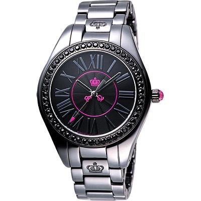 Juicy Couture Lively 美麗俏佳人陶瓷晶鑽腕錶-黑/40mm