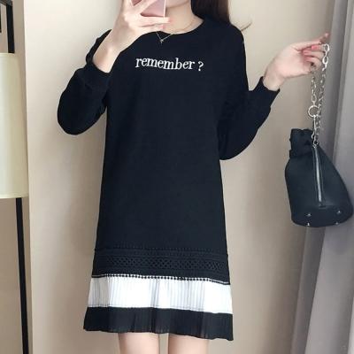 中大尺碼rember刺繡蕾絲下擺黑白裙百摺洋裝XL~4L-Ballet Dolly