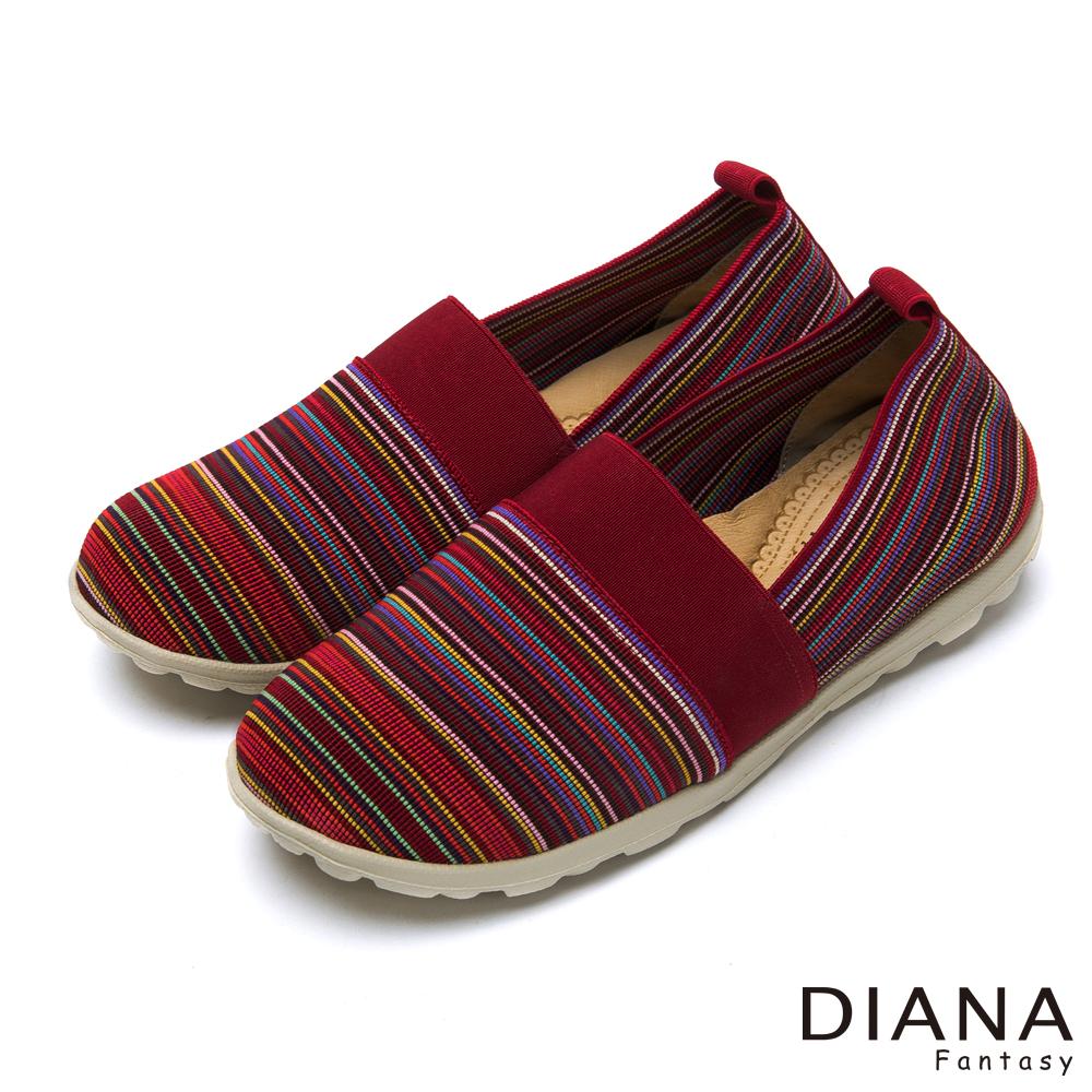 DIANA 輕。愛的--民族雅典彈性鬆緊帶超輕量樂福鞋-紅
