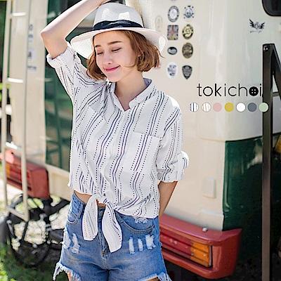 東京著衣 多色悠閒假期綁結襯衫(共七色)