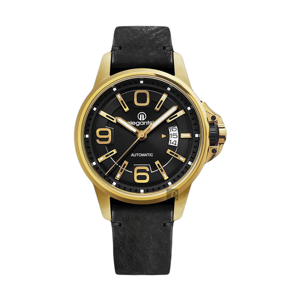 elegantsis JT55A 復古潮流機械腕錶-黑x金框/44mm
