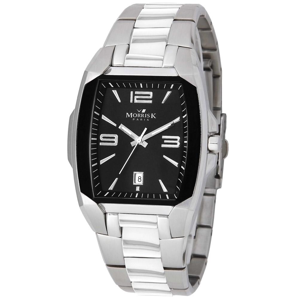 MORRIS K 魅力無限不鏽鋼流行腕錶-黑x銀/42mm