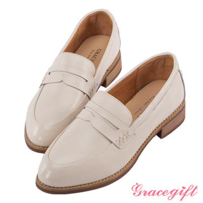 Grace gift-全真皮休閒橫帶樂福鞋 米白