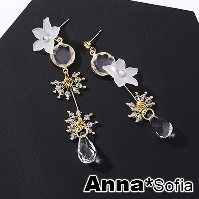 AnnaSofia 霧透桔梗垂滴晶 不對稱中大型耳針耳環(金系)