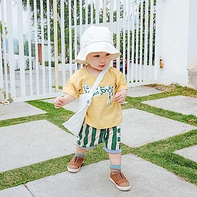 Baby unicorn 黃綠條紋動物短袖套裝2件組