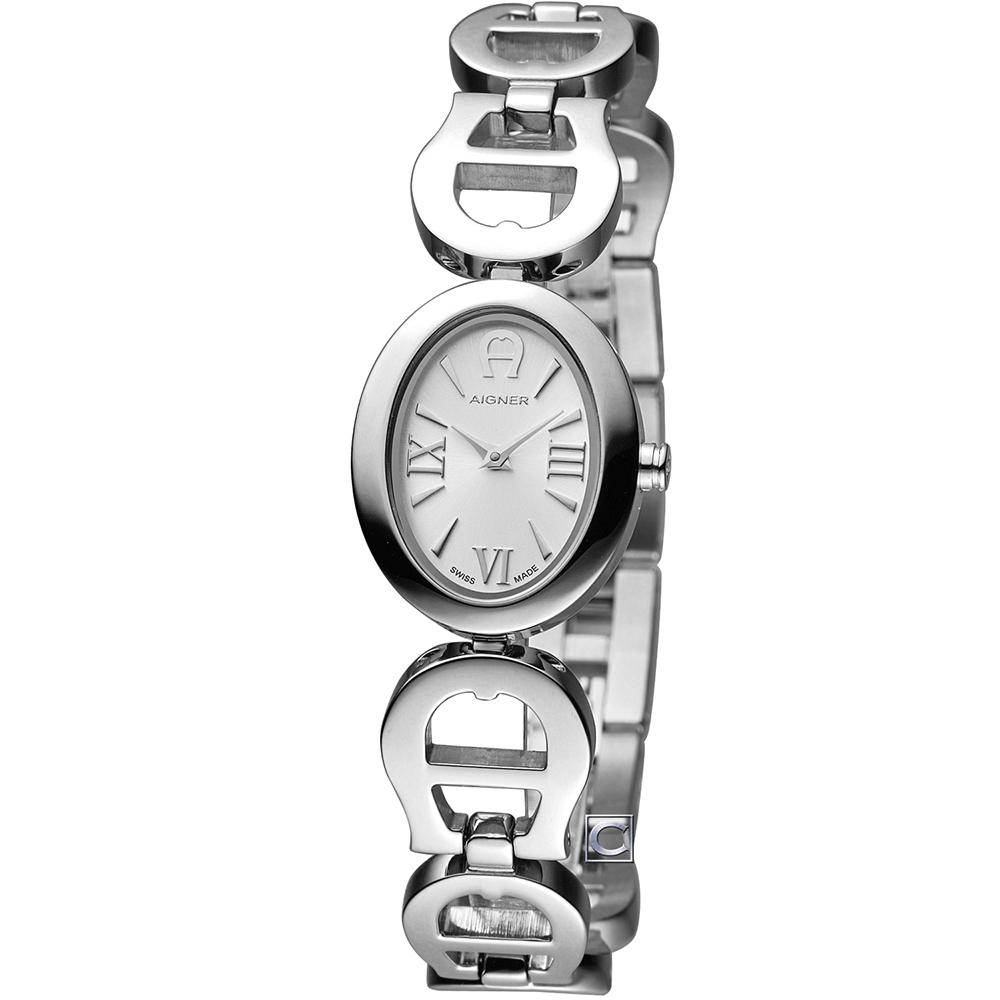 AIGNER 愛格納 Orvieto 馬蹄手鍊愛戀時尚腕錶-銀/21x26mm