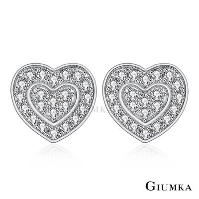 GIUMKA純銀愛心針式耳環真愛幸福密釘鑲-銀色