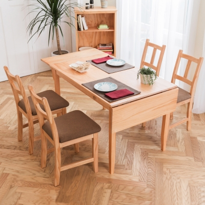CiS自然行-雙邊延伸實木餐桌椅組一桌四椅74x166公分/柚木+咖啡椅墊