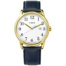 TIMEX 天美時 美國第一品牌 專利冷光照明 日期 真皮手錶-白x金框x藍/38mm