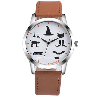 Watch-123 魔法學園-驚奇童趣神秘符號學生手錶-淺咖/37mm