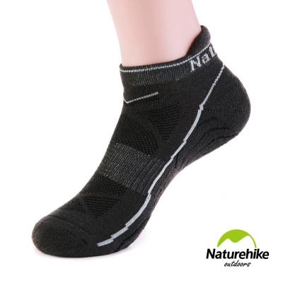 Naturehike 男款運動 加厚機能護踝船型襪 短襪 2入組 黑色 - 急速配