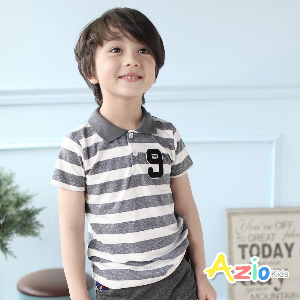 Azio Kids-上衣 數字9貼布條紋短袖POLO衫(灰)
