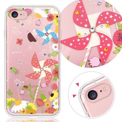 YOURS APPLE iPhone7 4.7吋 奧地利水晶彩繪防摔氣墊手機鑽殼-紙風車