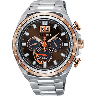 SEIKO精工 Prospex 太陽能大視窗計時手錶(SSC664P1)-咖啡/45mm