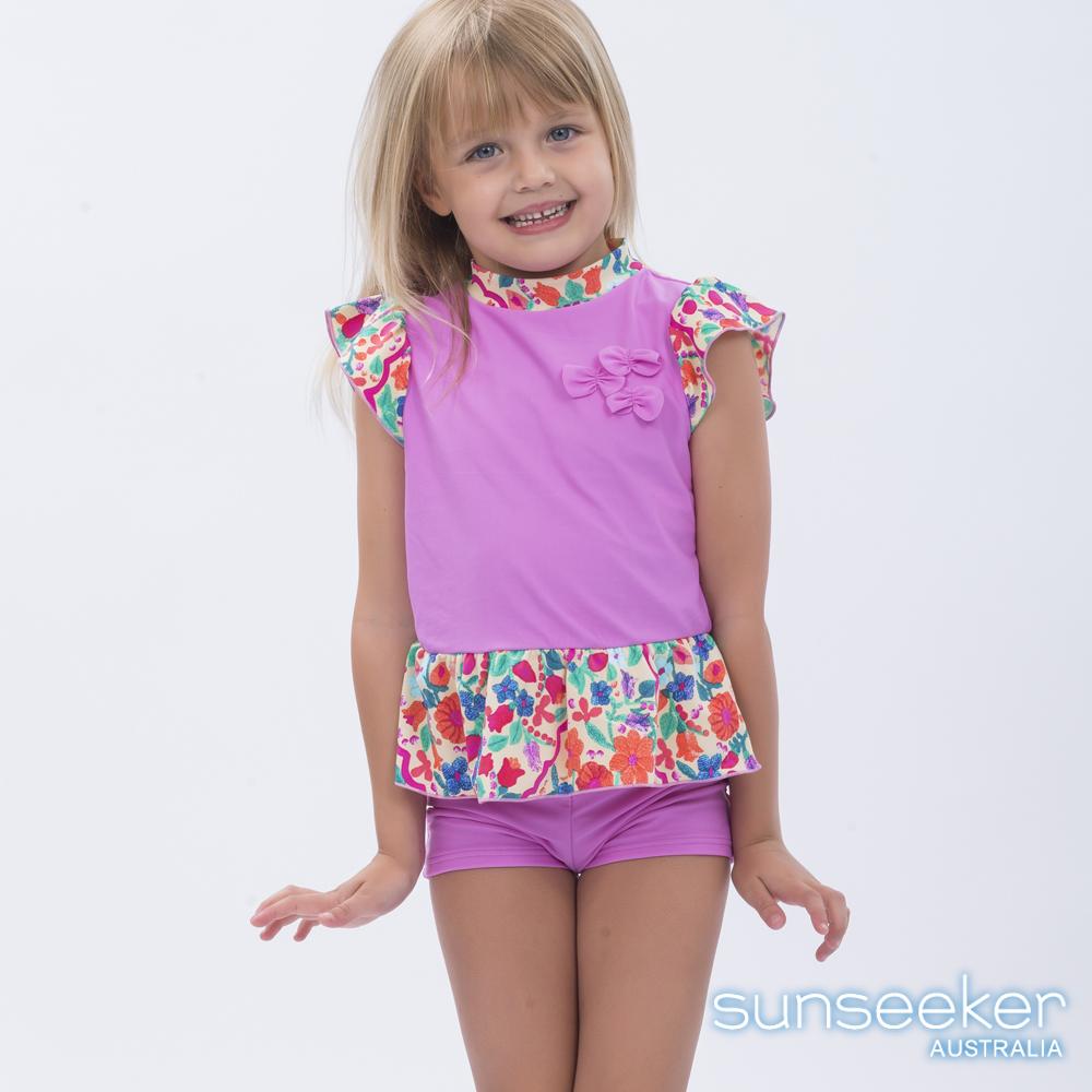 澳洲Sunseeker泳裝抗UV防曬短袖泳衣+泳褲組-小女童粉色