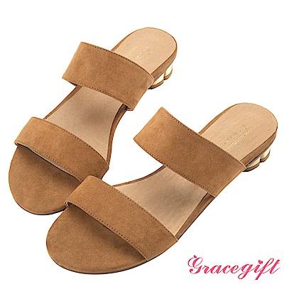 Grace gift-雙寬帶金屬花瓣跟涼拖鞋 棕
