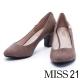 跟鞋 MISS 21 復古金屬小閃電絨布粗跟鞋-灰 product thumbnail 1
