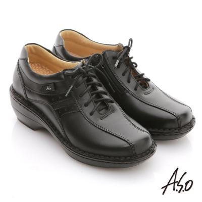 A.S.O 美型氣墊 全真皮綁帶拉鍊奈米氣墊鞋 黑