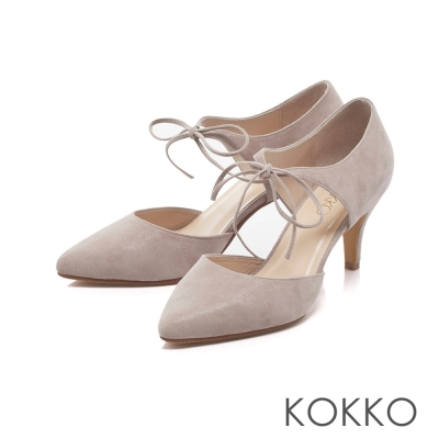 KOKKO-性感尖頭綁帶真皮高跟鞋-紳士灰