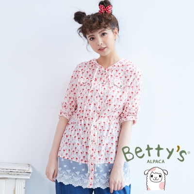 betty's貝蒂思 冰淇淋印花下拼接蕾絲收腰連帽上衣(紅色)
