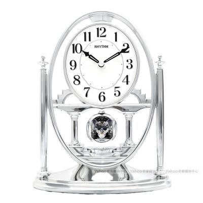 RHYTHM日本麗聲 華麗宮廷擺錘裝飾座鐘(典藏亮銀)/24cm