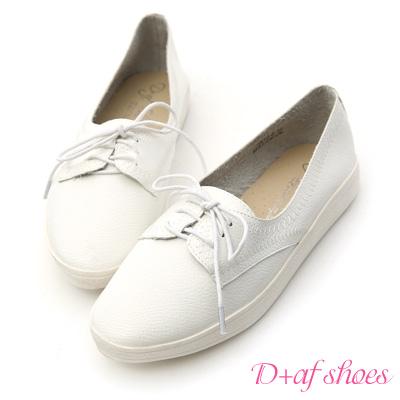 D-AF-自在焦點-拷克車線綁帶平底牛津鞋-白